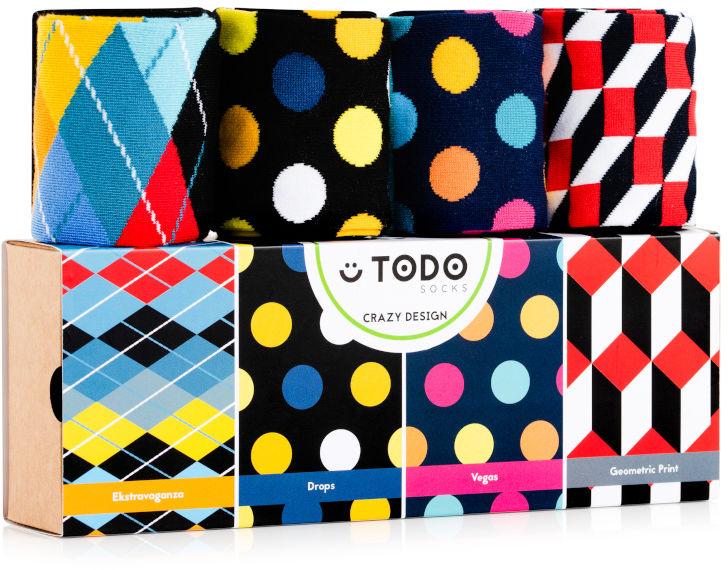 Zestaw kolorowych skarpet CRAZY DESIGN - Grochy, Kropki, Wzory - 4 pary