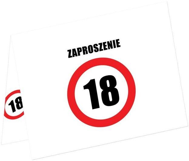 Zaproszenia na 18 urodziny znak zakazu 6szt ZAP-ZAKAZ-18-6x