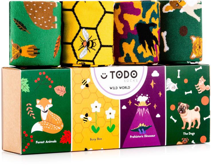 Zestaw kolorowych skarpet WILD WORLD - Psy, Pszczoły, Lis - 4 pary