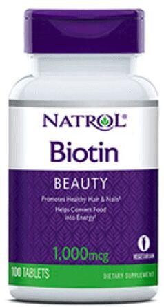 NATROL Biotin (Biotyna) 1000mcg - 100 tabletek wegetariańskich