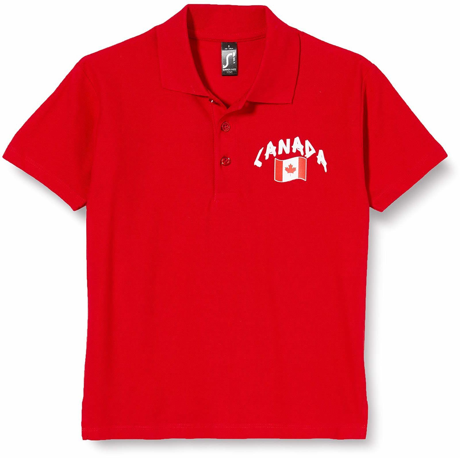 Supportershop Dziecięca koszulka polo Rugby Kanada L, czerwona