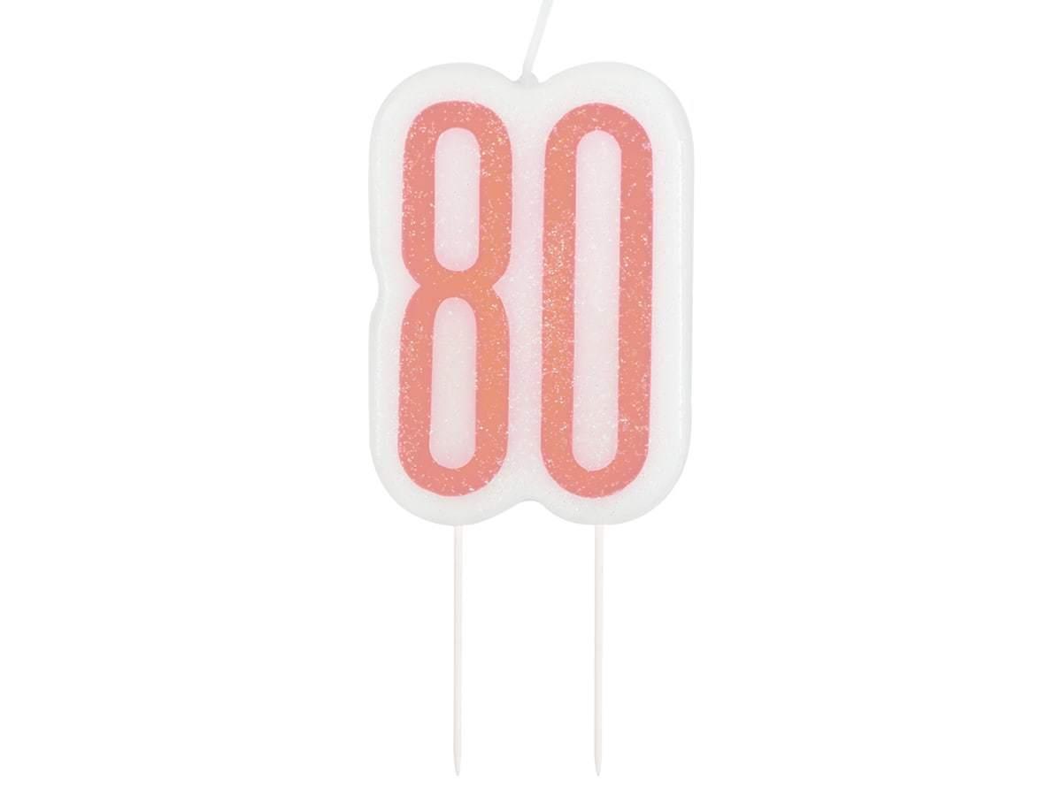 Brokatowa różowo-złota świeczka na 80-tke - 1 szt.