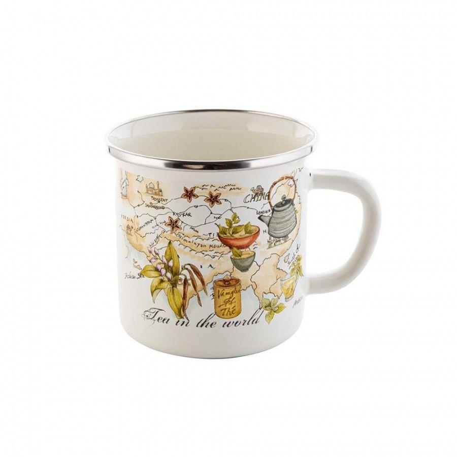 Emalia Polska Pleszew Tea Time 0,7 Kremowy - Kubek Emaliowany - /W72h/