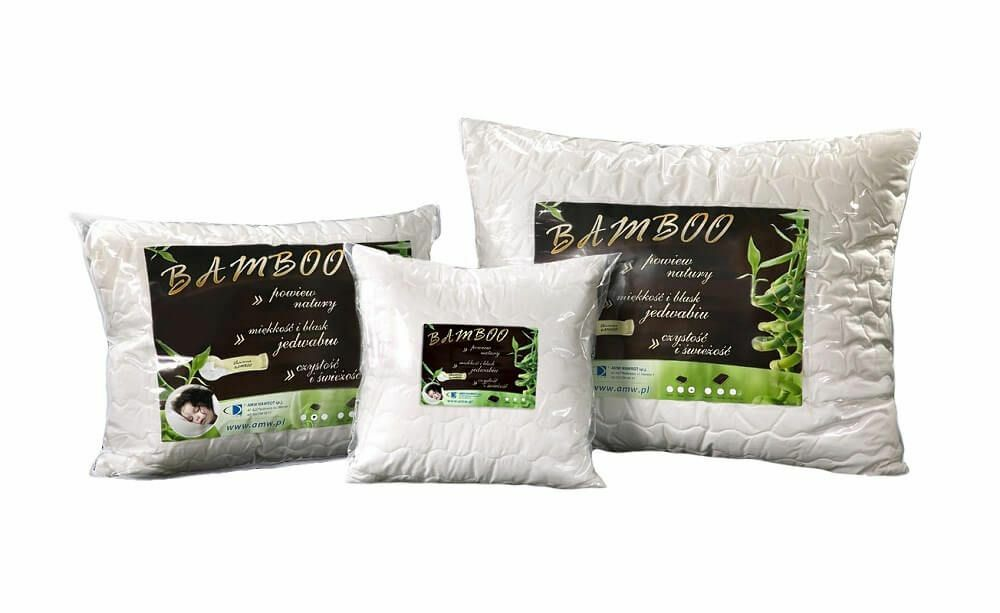 Poduszka antyalergiczna 40x40 Bamboo 0,25 kg biała z włóknem bambusa AMW