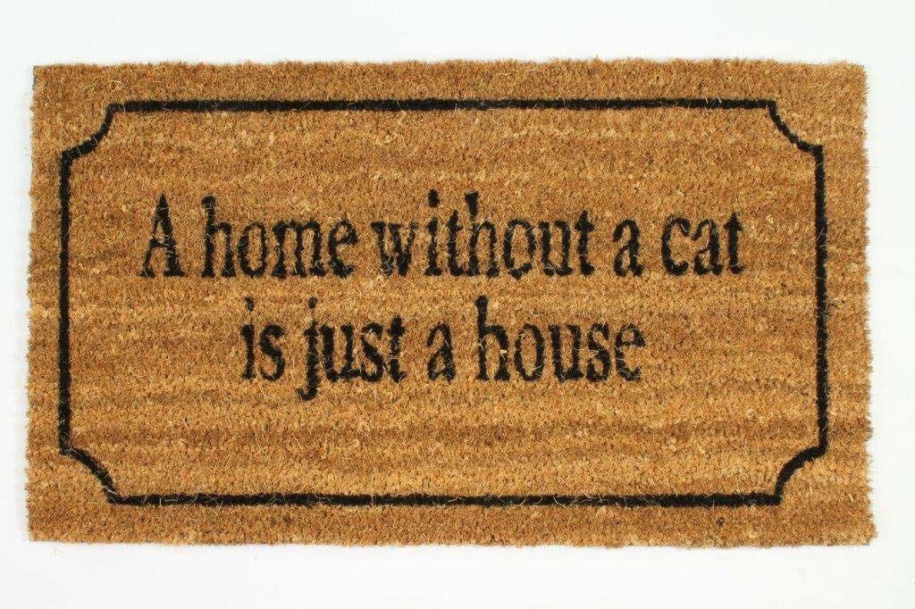 Dekoracyjna mata pod drzwi wejściowe do domu bez kota. 70 cm x 40 cm