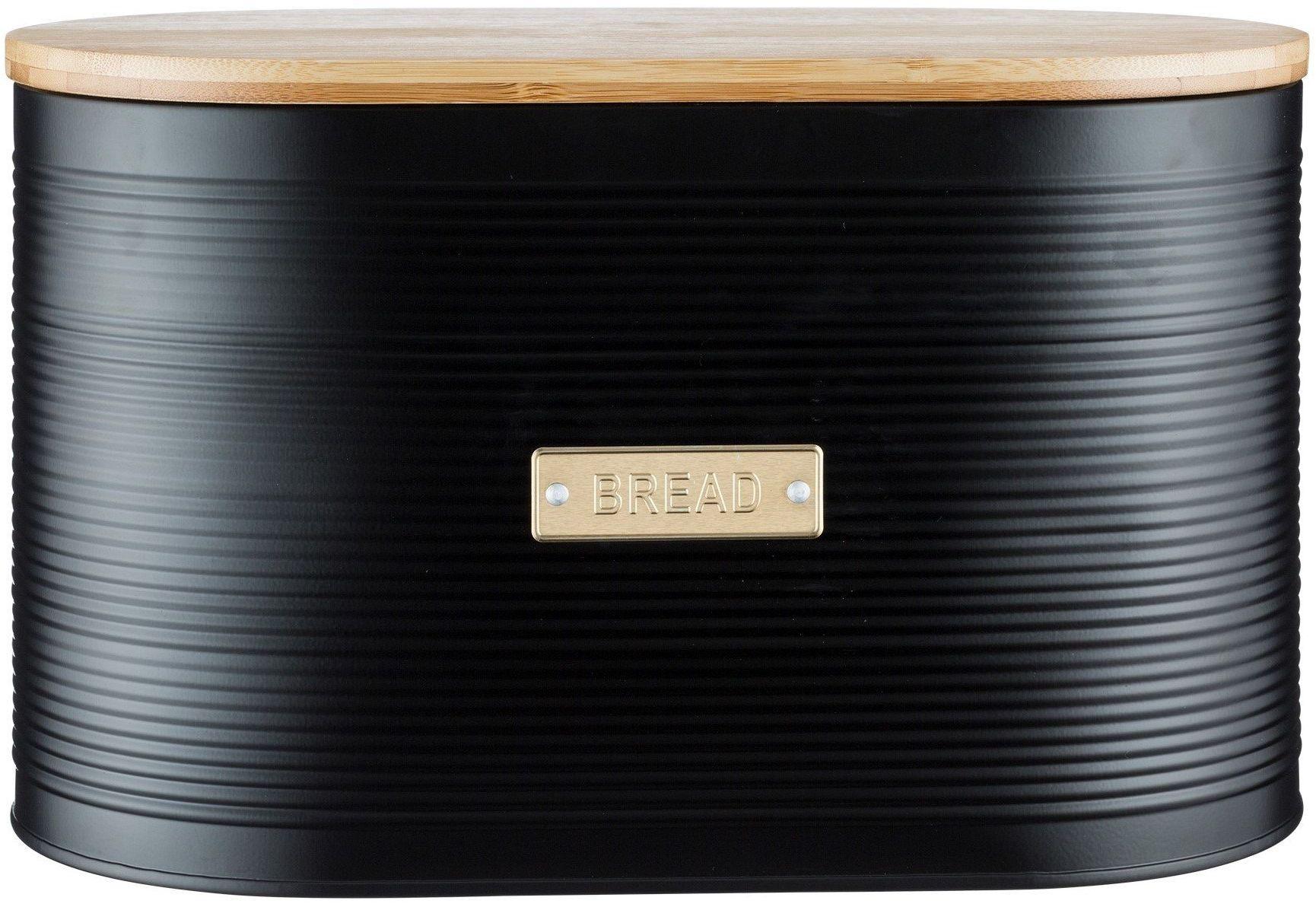 Typhoon Otto pojemnik na chleb z bambusową pokrywką, 10 litrów, czarny matowy i złoty