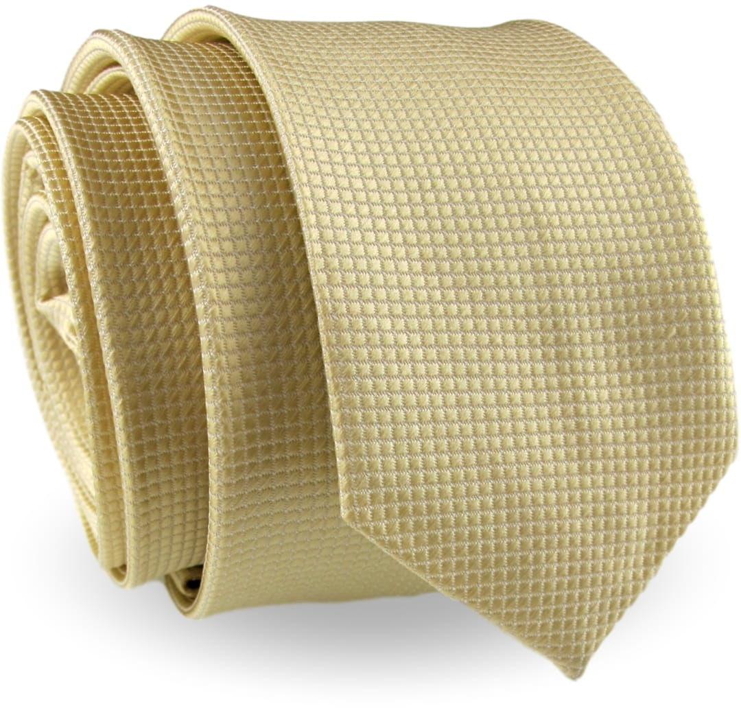 Krawat Męski Elegancki Modny Śledź wąski beżowy cielisty w delikatną kratkę G324