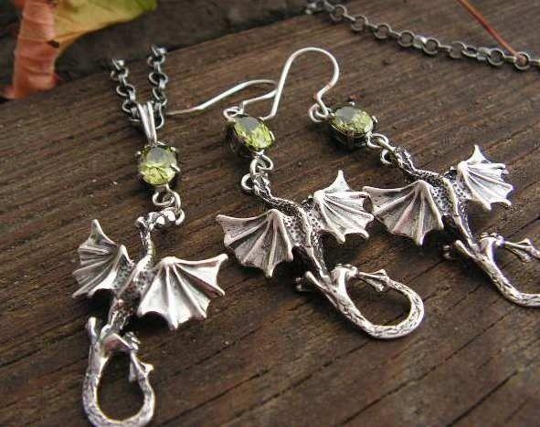 Dragon - srebrny komplet smoki z oliwinem