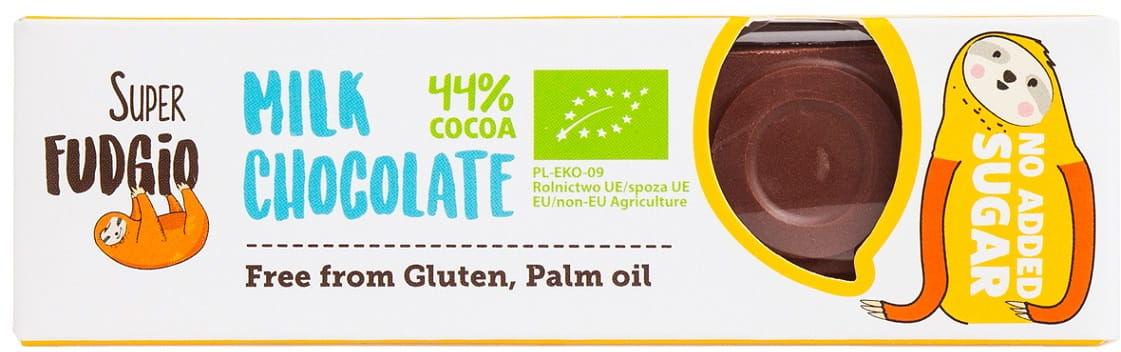 Baton mleczna czekolada bezglutenowy bio 40 g - super fudgio