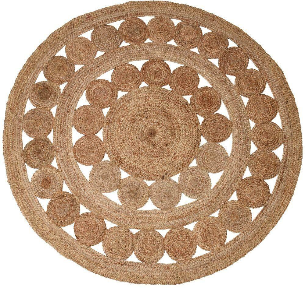 Dywan JUTOWY BOHO pleciony z juty okrągły 150 cm