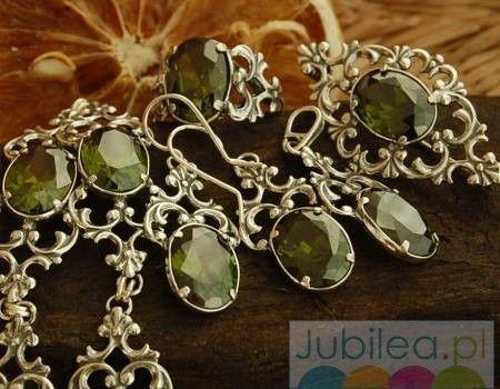 Fauno - komplet srebrny z oliwinem