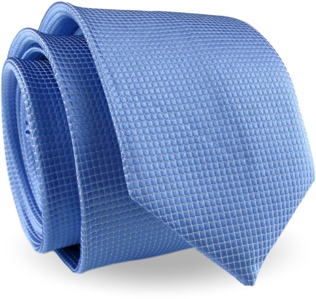 Krawat Męski Elegancki Modny Klasyczny szeroki błękitny jasny niebieski w delikatną kratkę G331