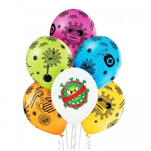 """Balony z kolorowymi wirusami, Stop the Virus 12"""", 6 szt."""