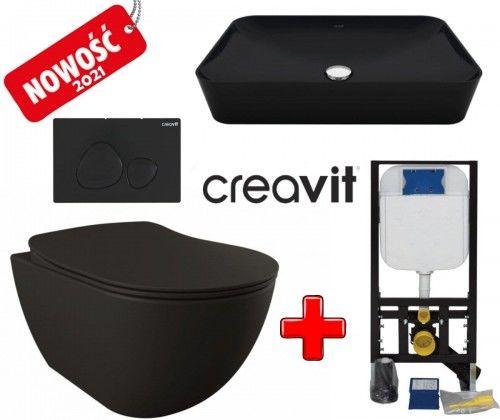 ZESTAW 5w1 CREAVIT czarny ultra mat RIMLESS: Miska WC podwieszana bezkołnierzowa + deska soft-close +Umywalka nablatowa + przycisk SPA + Stelaż podtynkowy, Regulacja 180-230 mm, 3/6L, 300kg