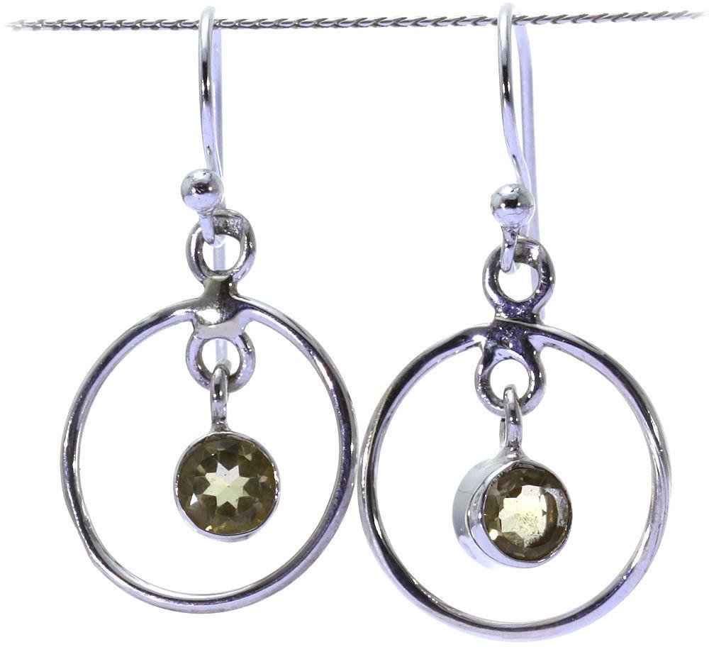 Kuźnia Srebra - Kolczyki srebrne, 30mm, Cytryn, 3g, model
