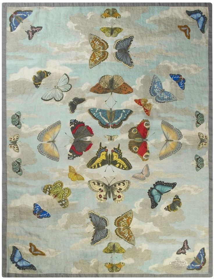 Koc wełniany John Derian Mirrored Butterflies Sky