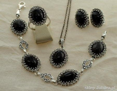 Srebrny komplet biżuterii onyksy i cyrkonie helio