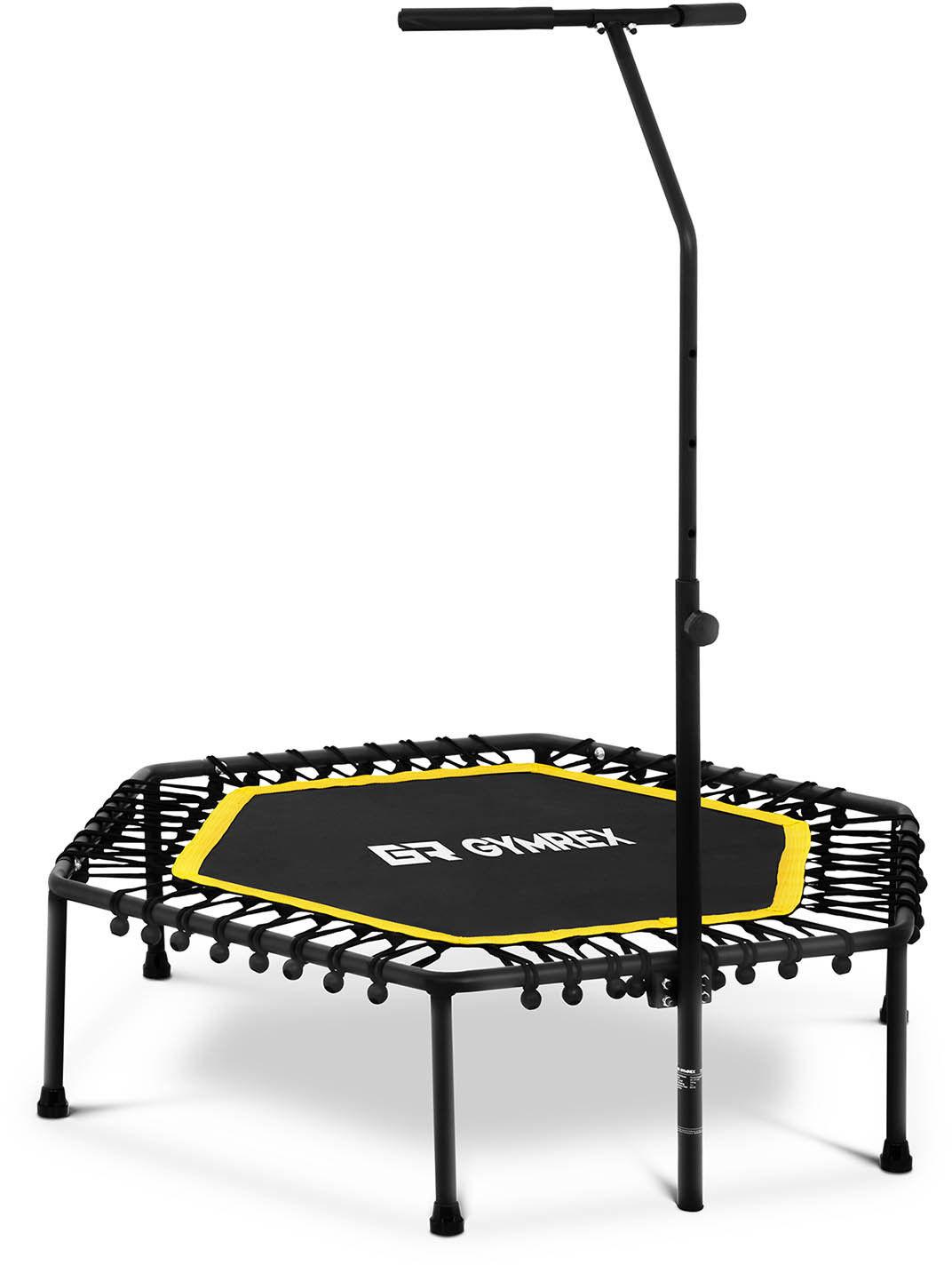 Trampolina z uchwytem - do 100 kg - żółta -124 cm - Gymrex - GR-HT110R - 3 lata gwarancji/wysyłka w 24h