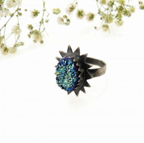 Druza VI - pierścionek srebrny