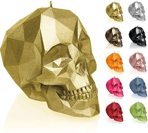 Candellana Świeca mała czaszka Low Poly wysokość: 12 cm klasyczne złoto trupia czaszka wykonana ręcznie w UE