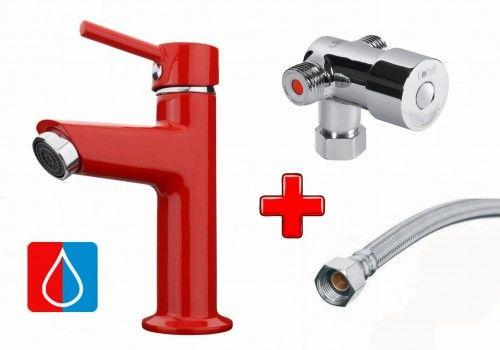 Zestaw do zimnej i ciepłej wody: Bateria umywalkowa 15cm jednouchwytowa NINO, czerwona + Mieszacz + Wężyk 300mm, FLEX