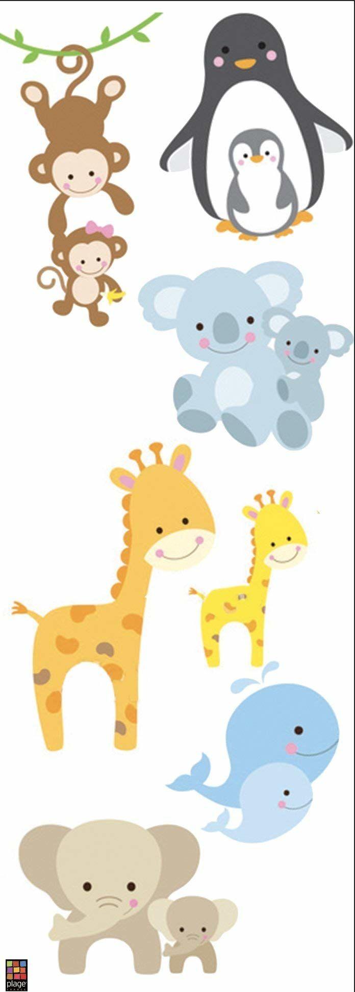 PLAGE dekoracyjna naklejka na ścianę małe zwierzęta - dzieci 24 x 68 cm, winyl, kolorowa, 68 x 0,1 x 24 cm