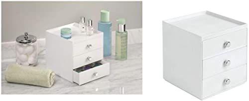 iDesign Drawers organizer do makijażu z 3 szufladami, wysokiej jakości pudełko do przechowywania kosmetyków, kosmetyków, itp., tworzywo sztuczne, biały