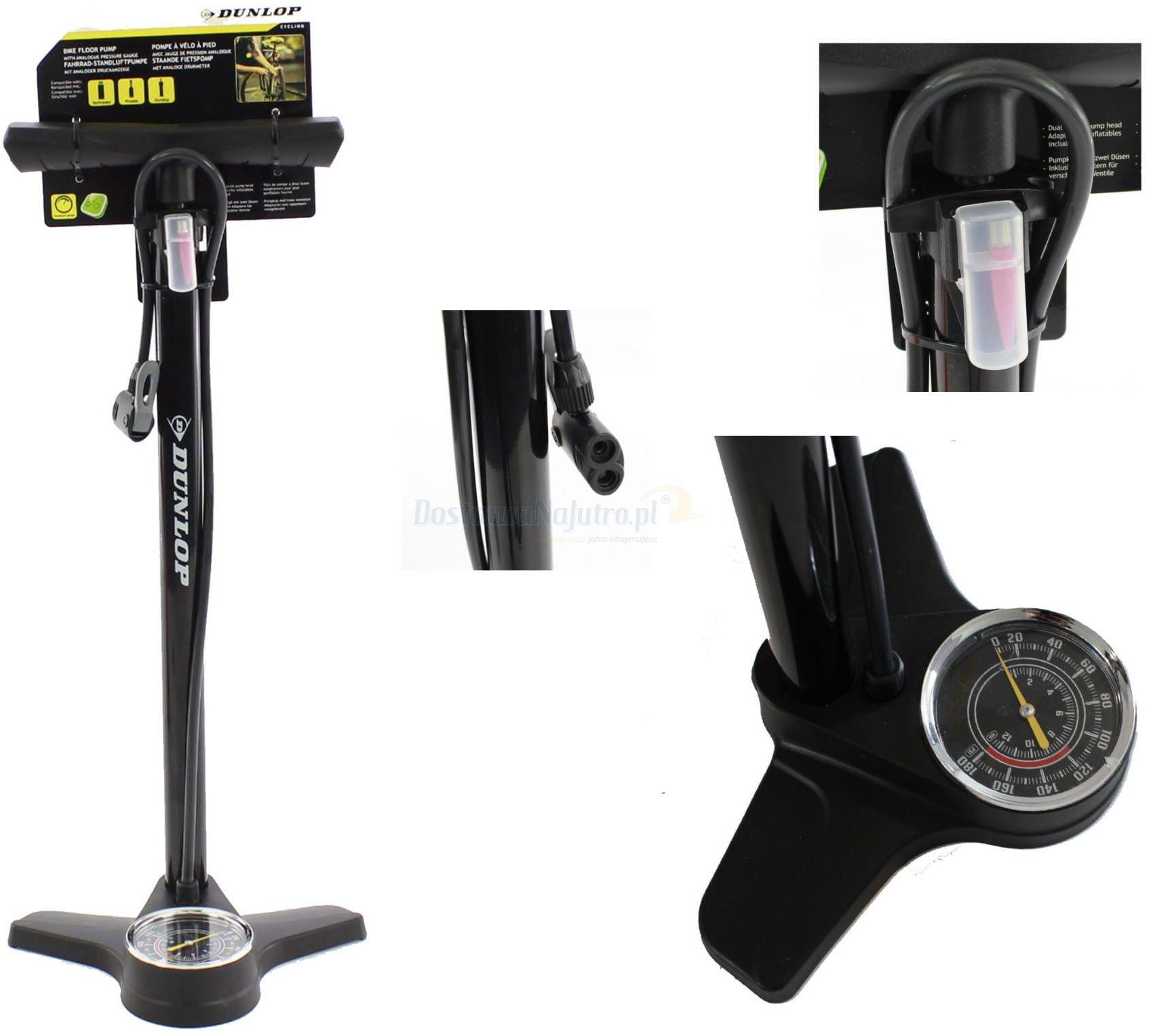 DUNLOP pompka rowerowa podłogowa z manometrem i adapterami