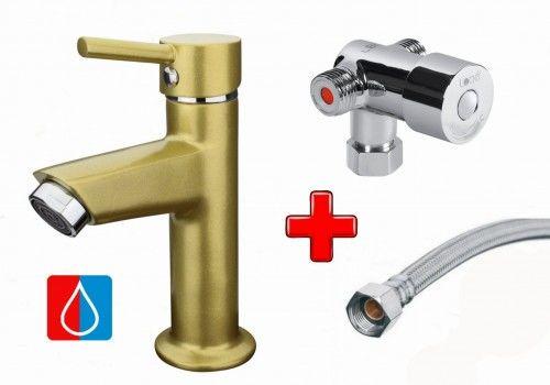 Zestaw do zimnej i ciepłej wody: Bateria umywalkowa 15cm jednouchwytowa NINO, złoty metalik + Mieszacz + Wężyk 300mm, FLEX