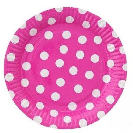 Różowe talerzyki papierowe w białe kropki grochy 23cm 6 sztuk PF-TGR9