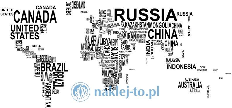 naklejka na ścianę Mapa świata 5 nazwy państw naklejka na ścianę