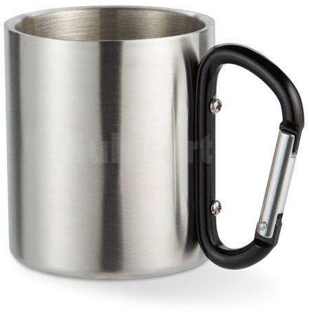 Metalowy kubek na karabińczyku czarnym