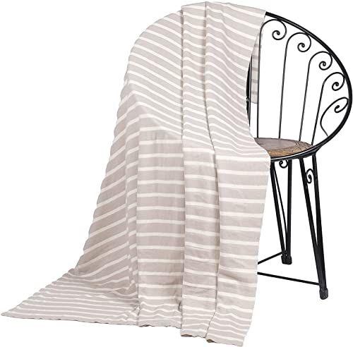 Penguin Home Dzianinowy koc narzutowy 100% bawełna - gładki i naturalny kolor - z bardzo miękkim dotykiem na sofę kanapę i łóżko - ciepły i przytulny koc - 130 x 150 cm (50 x 60 cali)