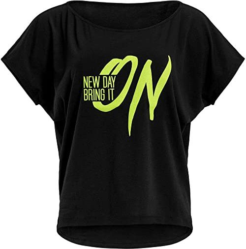 WINSHAPE Damska koszulka Winshape Damen Ultra Leichtes Modal-kurzarmshirt Mct002 Mit Neon Gelbem ''New Day Bring It On'' Glitzer-aufdruck T-shirt Schwarz-neon-gelb-Glitter L