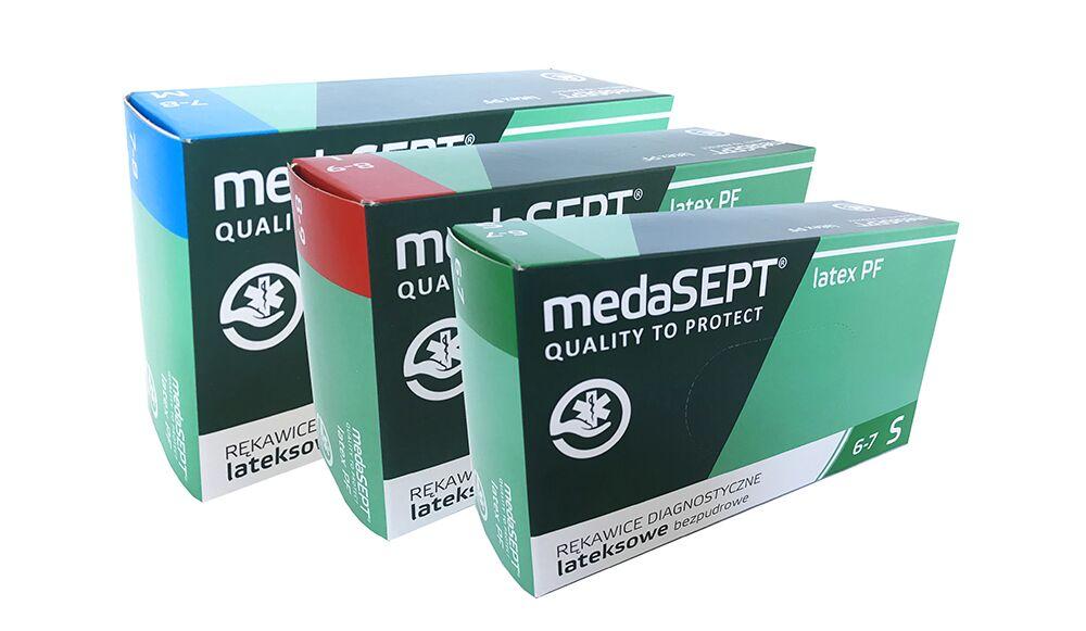 Rękawice lateksowe - diagnostyczne - medyczne, bezpudrowe medaSEPT (opak. 100 szt)