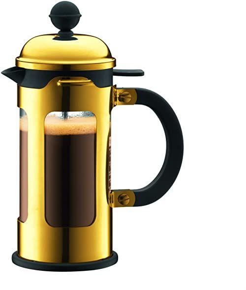 BODUM 0,35 litra / 300 ml szkło borokrzemowe Chambord 3 filiżanki ekspres do kawy, złoty