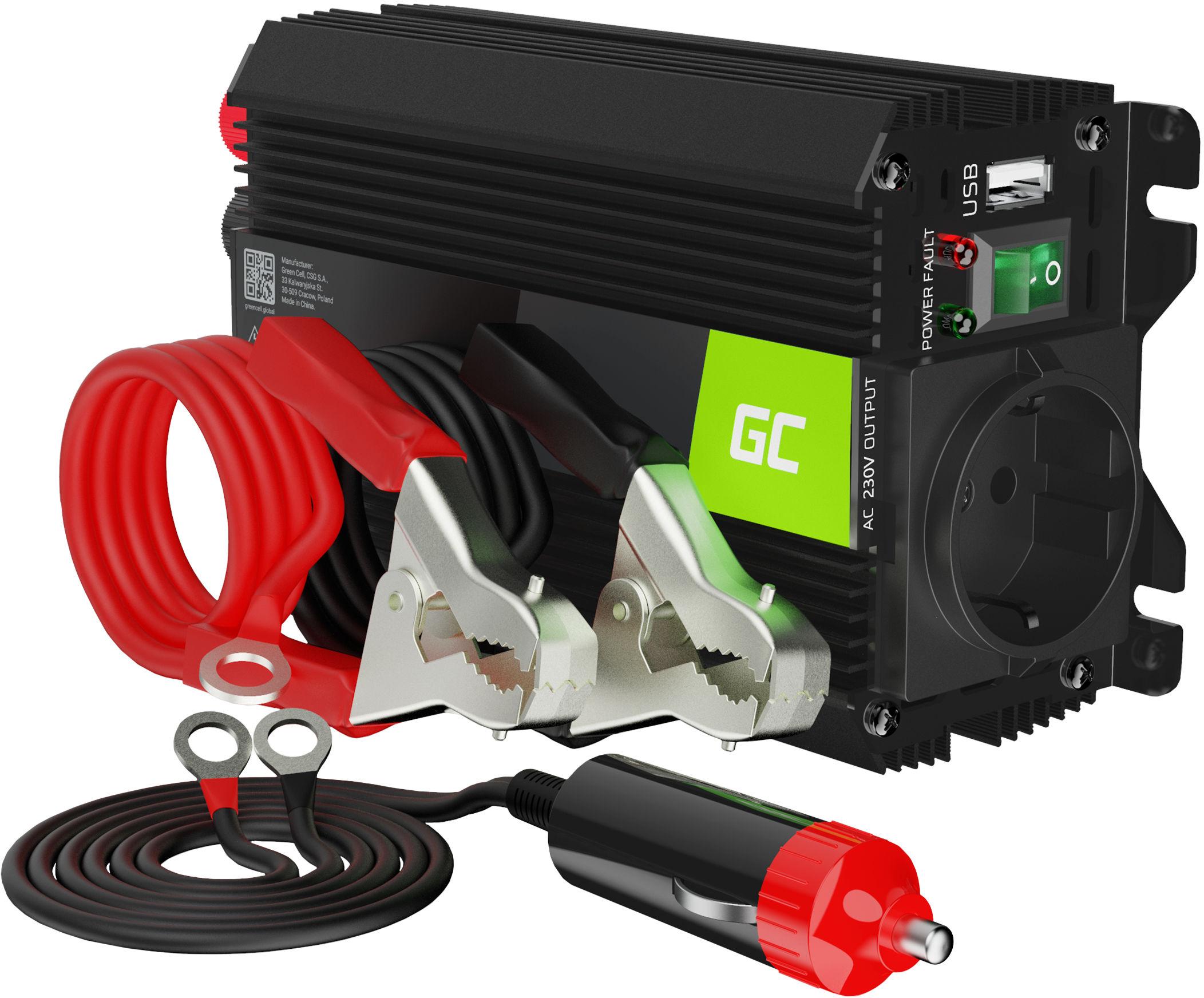 Przetwornica napięcia Inwerter Green Cell PRO 12V na 230V 300W/600W Modyfikowana sinusoida