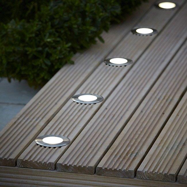 Oświetlenie tarasowe LED Blooma Flax okrągłe 300 lm 4000 K stalowe