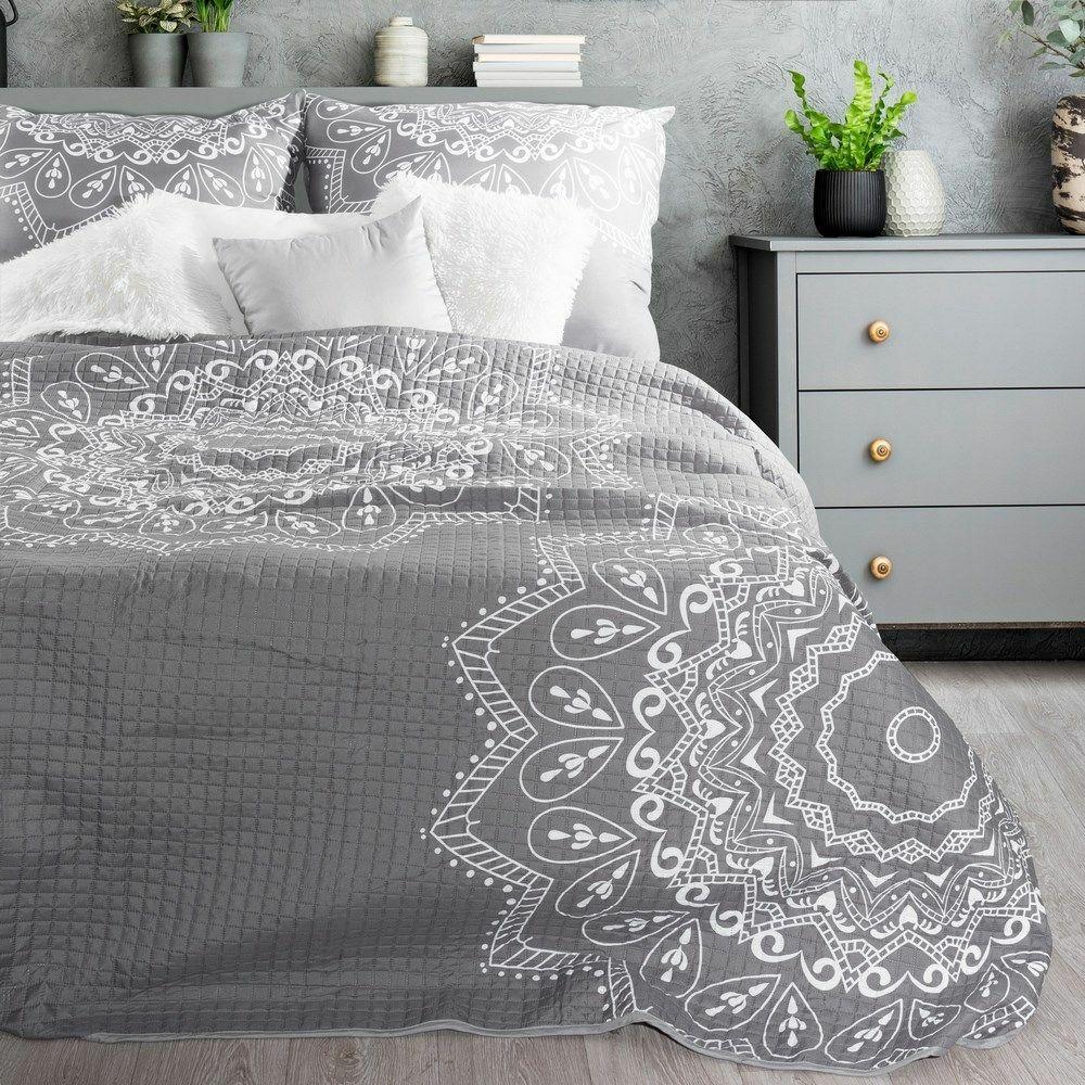 Narzuta dekoracyjna 170x210 Greta srebrna biała ornament