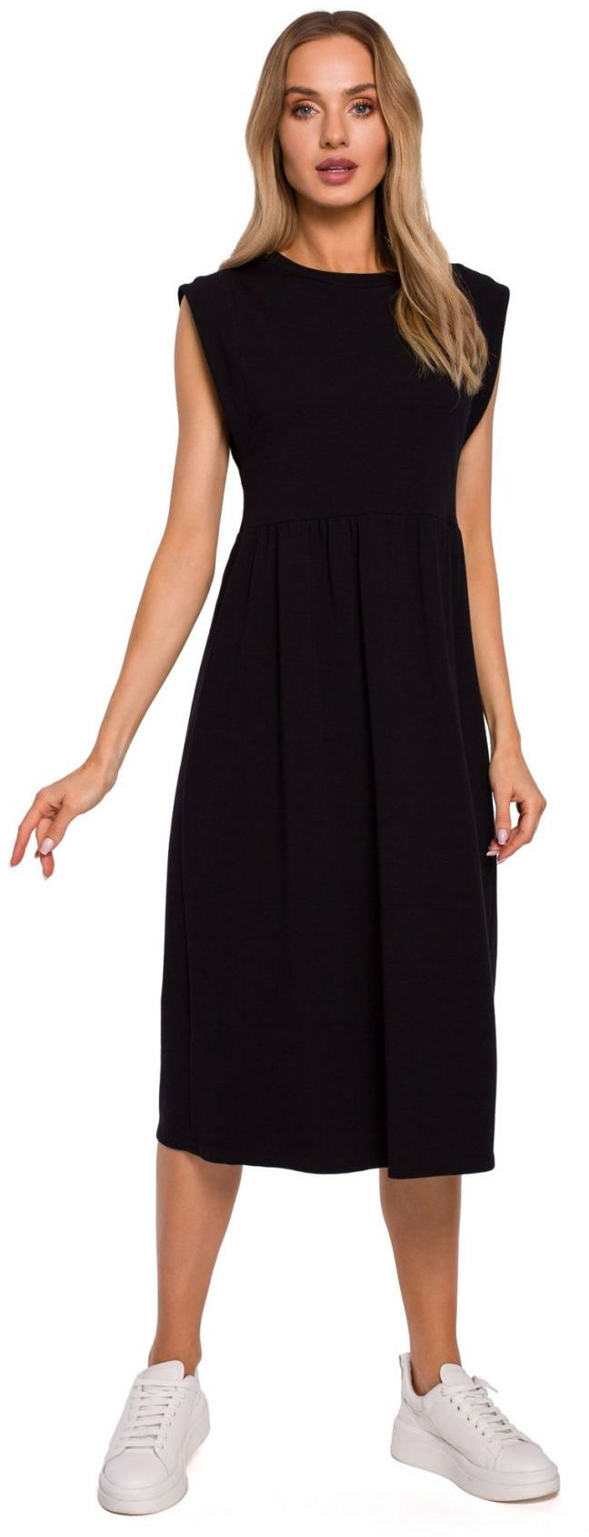 M581 Sukienka midi z ozdobnymi rękawami - czarna