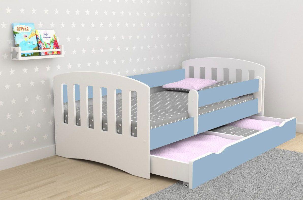 Łóżko dla chłopca z materacem Pinokio 2X 80x140 - niebieskie