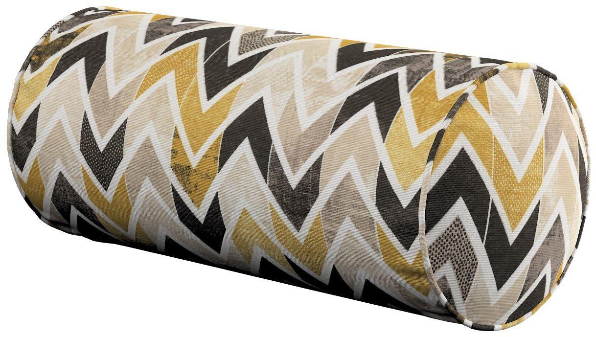 Poduszka wałek prosty, musztardowo- czarno- beżowe zygzaki na jasnym tle, Ø16  40 cm, Modern