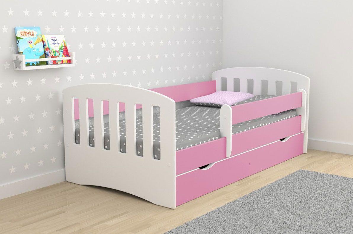 Łóżko dla dziewczynki z materacem Pinokio 2X 80x140 - różowe