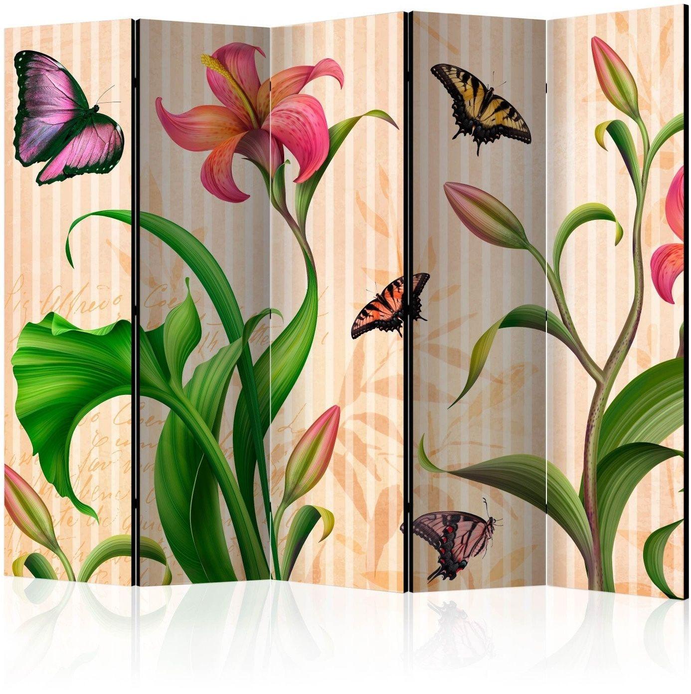 Parawan 5-częściowy - vintage - wiosna ii [room dividers]