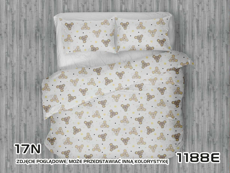 Pościel bawełniana 160x200 1188E Myszki beżowe groszki żółte biała