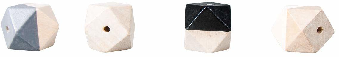 Rayher 12202573 drewniane perły diamentowe z otworem, ø 2 cm, 4 sztuki, czarny/biały, do majsterkowania i dekorowania