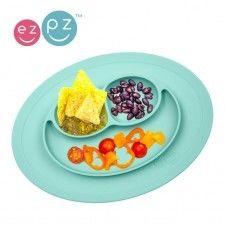 Ezpz - Silikonowy Talerzyk z Podkładką Mały 2w1 Mini mat Pastelowy Niebieski
