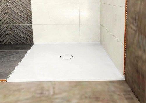 Brodzik kompozytowy, prostokąt PRAWY 90x80x1,8cm, SLIM biały