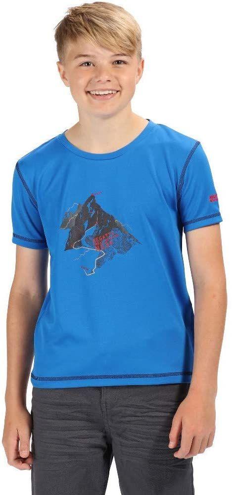 Regatta uniseks dzieci Alvarado Iv szybkoschnący ochrona UV aktywny T-shirt Oxford Blue Size 7-8