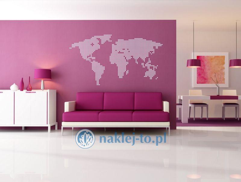 naklejka ścienna Mapa świata 6 duże kółka naklejka na ścianę
